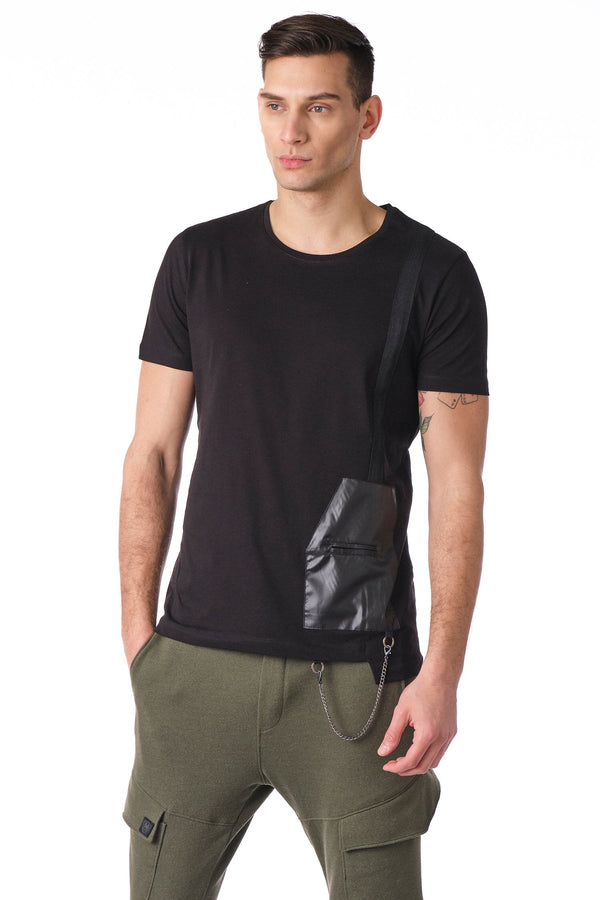 Geometrical leather patch Tee - Black - Ron Tomson
