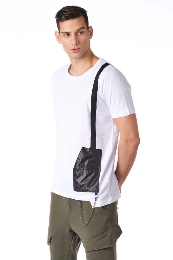 Geometrical leather patch Tee - White - Ron Tomson