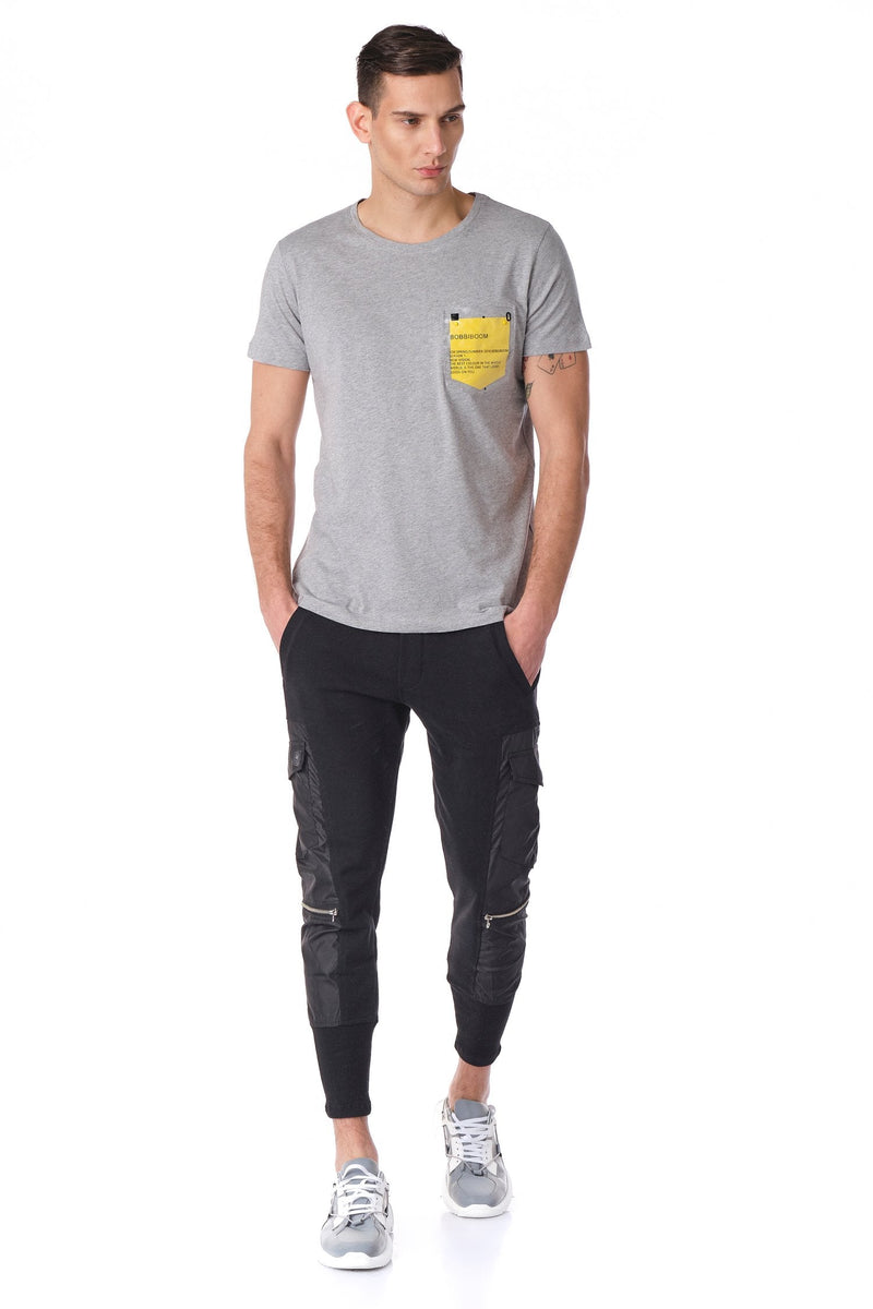 Bobbiboom pocket patched Tee - Grey Yellow - Ron Tomson