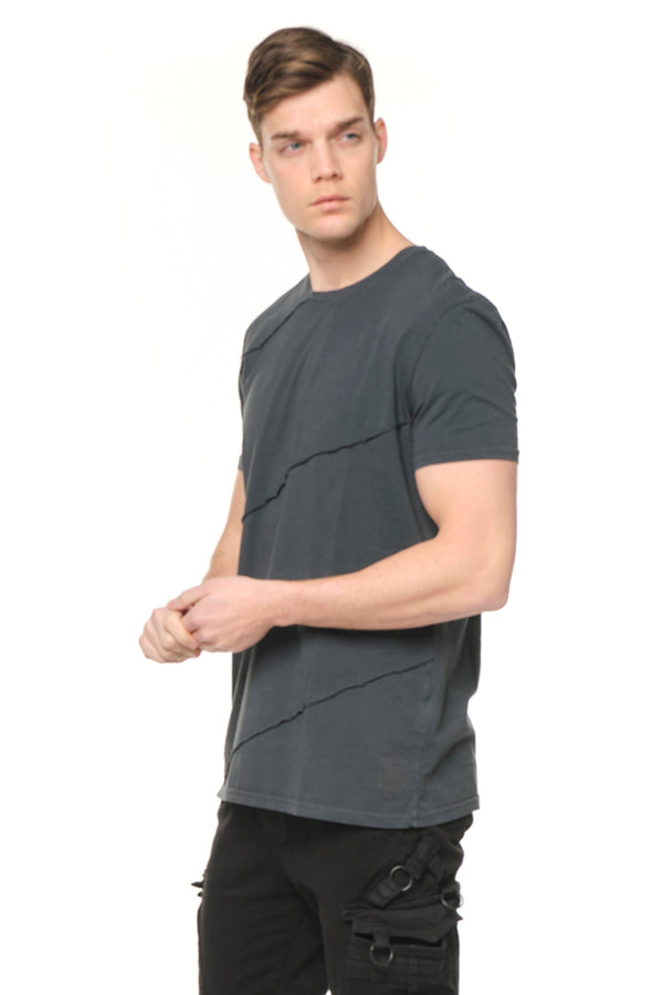 Scarred Cotton Tee - ANTHRACITE