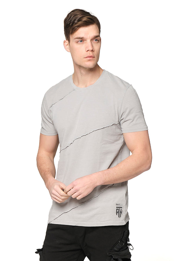 Scarred Cotton Tee - GREY - Ron Tomson ?id=27943909720149