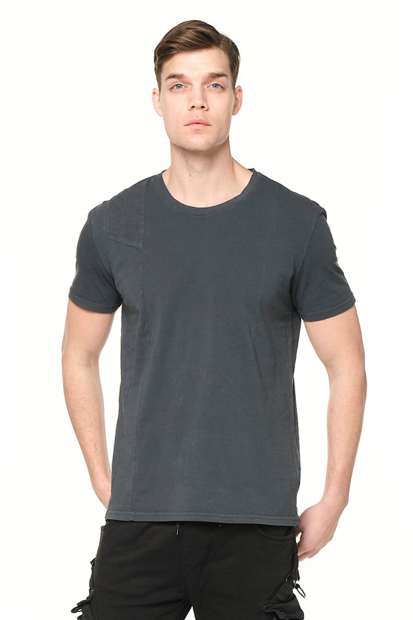 Viking Single Shoulder Quilted Tee - ANTHRACITE - Ron Tomson ?id=27943908311125