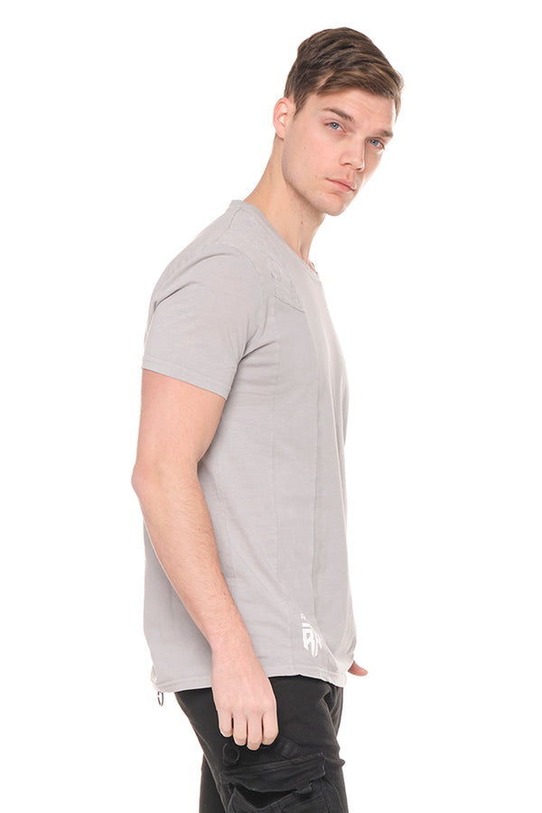 Viking Single Shoulder Quilted Tee - GREY - Ron Tomson ?id=27943907655765