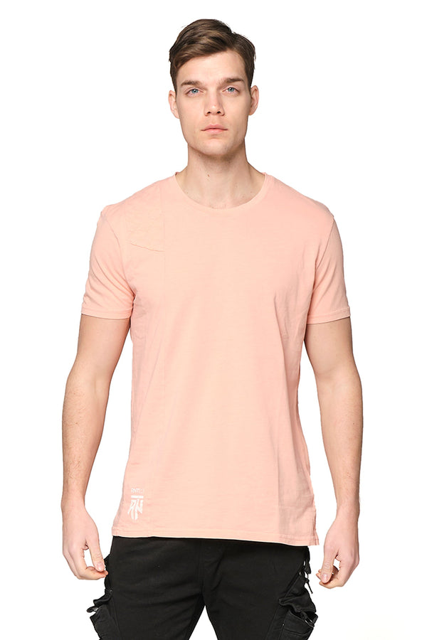 Viking Single Shoulder Quilted Tee -PINK - Ron Tomson ?id=27943907295317