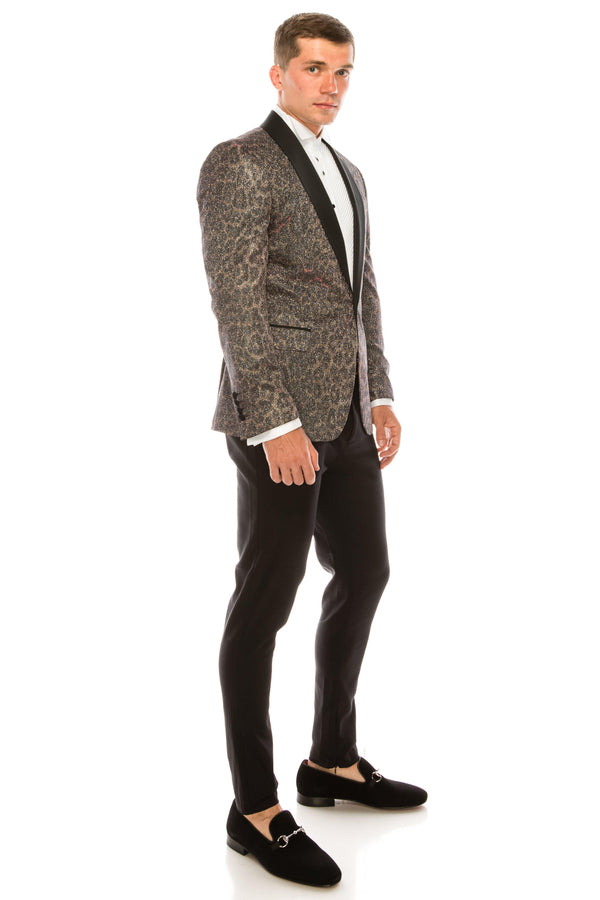 ALFRED GLITTER EMBELLISHED LEOPARD PRINT TUXEDO - Ron Tomson