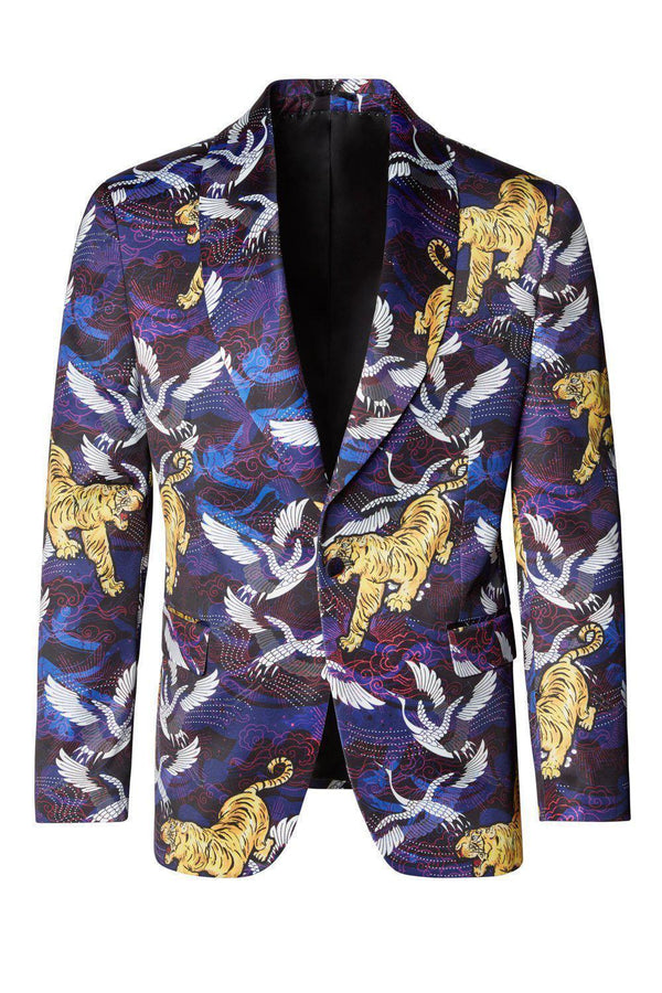 Allover Printed Neoprene Tuxedo Jacket - Purple - Ron Tomson