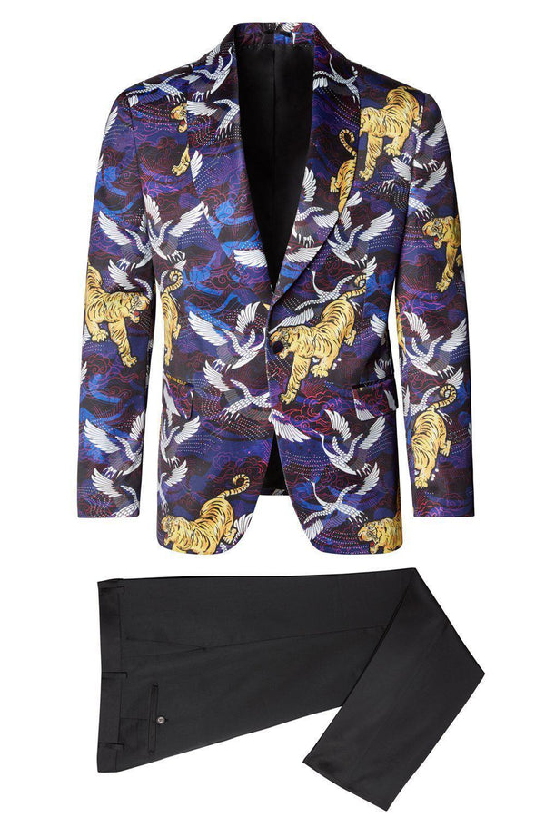 Allover Printed Neoprene Tuxedo Jacket - Purple - Ron Tomson ?id=13858845753429