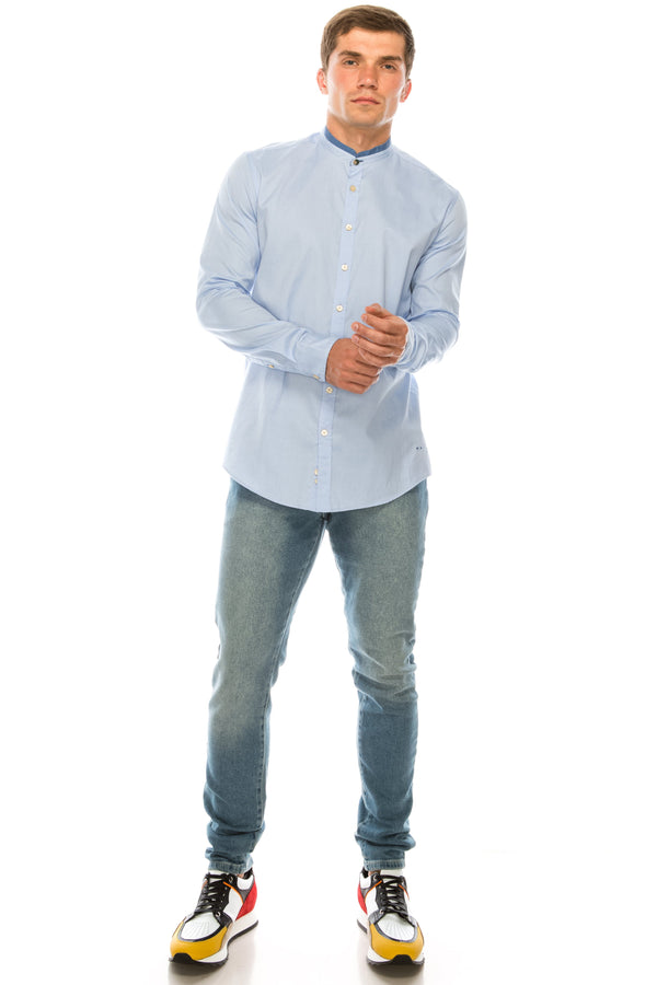 Band Collar Casual Shirt - Blue - Ron Tomson ?id=15135543853141