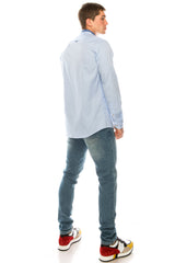 Band Collar Casual Shirt - Blue - Ron Tomson