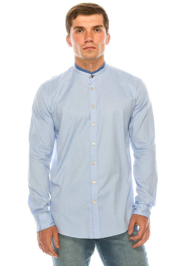 Band Collar Casual Shirt - Blue - Ron Tomson ?id=15135543689301