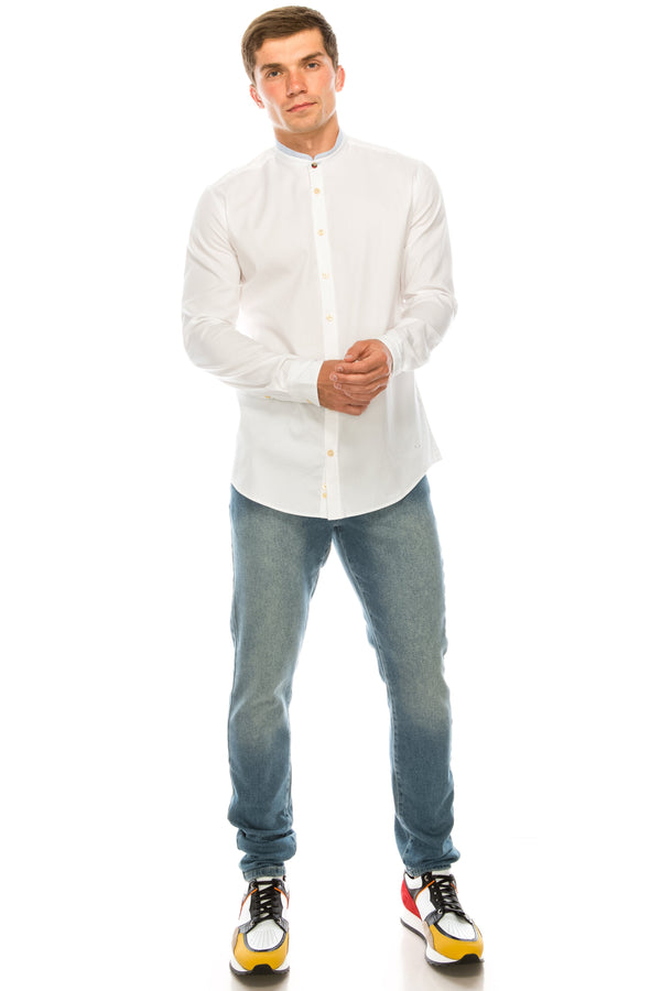 Band Collar Casual Shirt - White - Ron Tomson