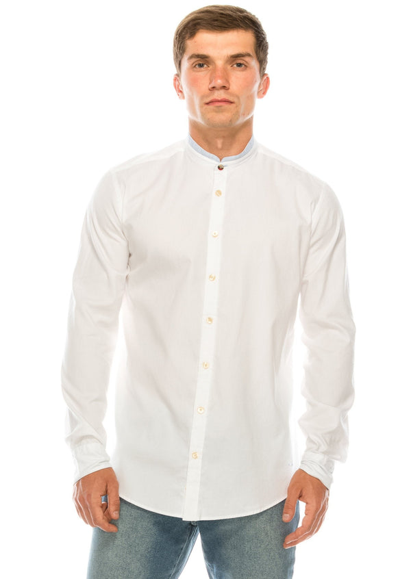 Band Collar Casual Shirt - White - Ron Tomson ?id=15157327069269