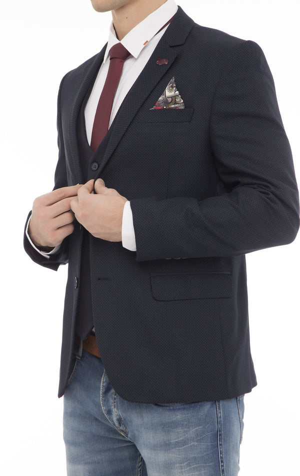 BIRDSEYE NOTCH LAPEL FITTED JACKET - NAVY - Ron Tomson
