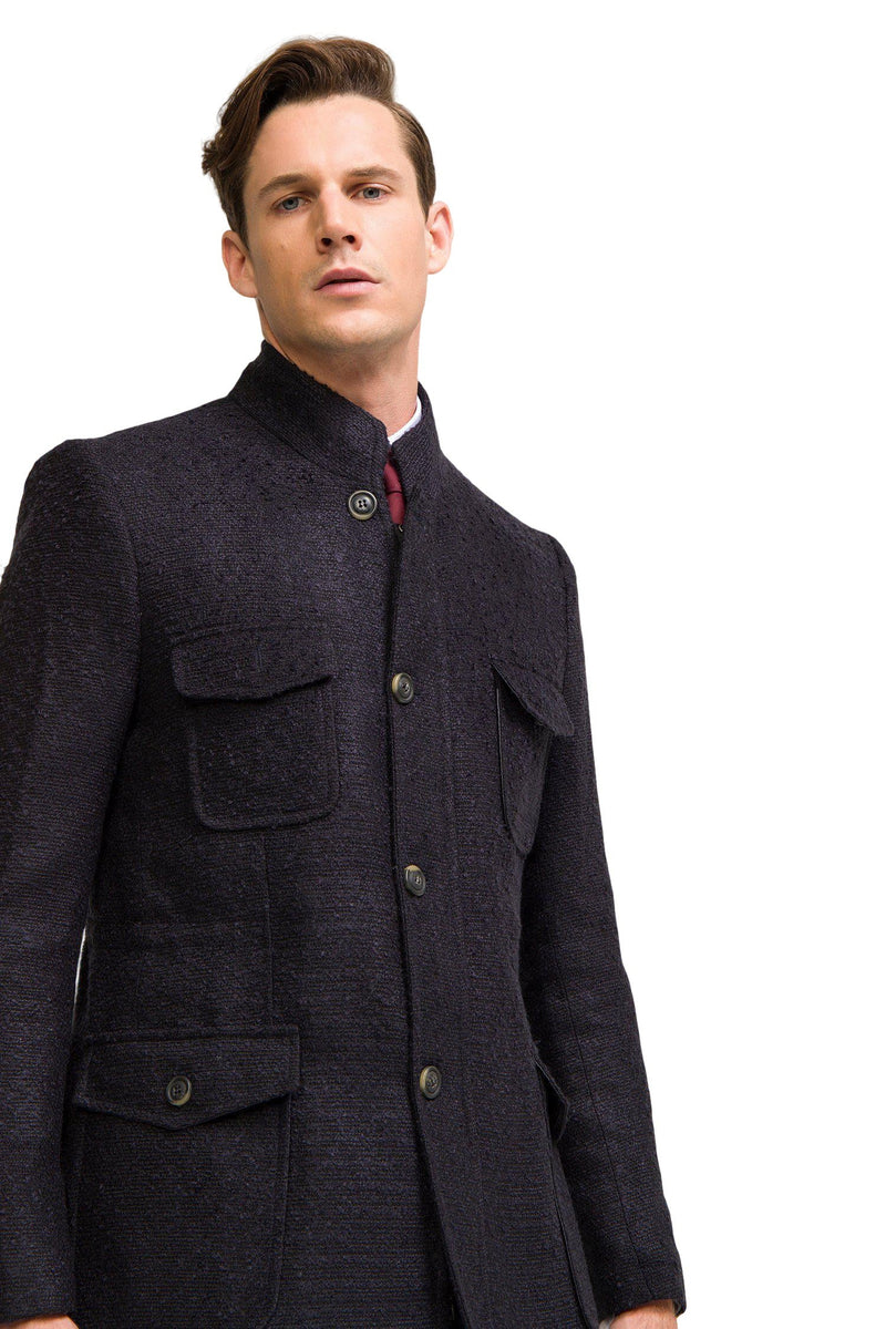 Boucle Field Coat - Navy - Ron Tomson