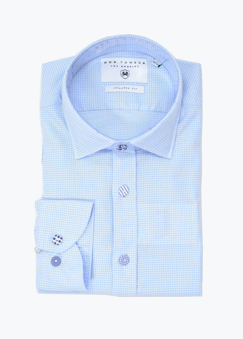 Button Fitted Cotton Shirt - Blue - Ron Tomson ?id=13860385914965