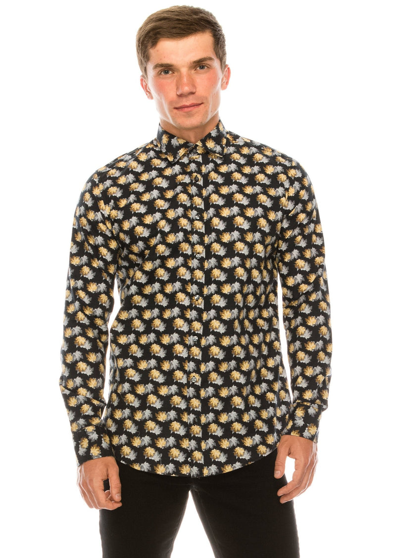 Casual Printed Shirt - Black Grey - Ron Tomson