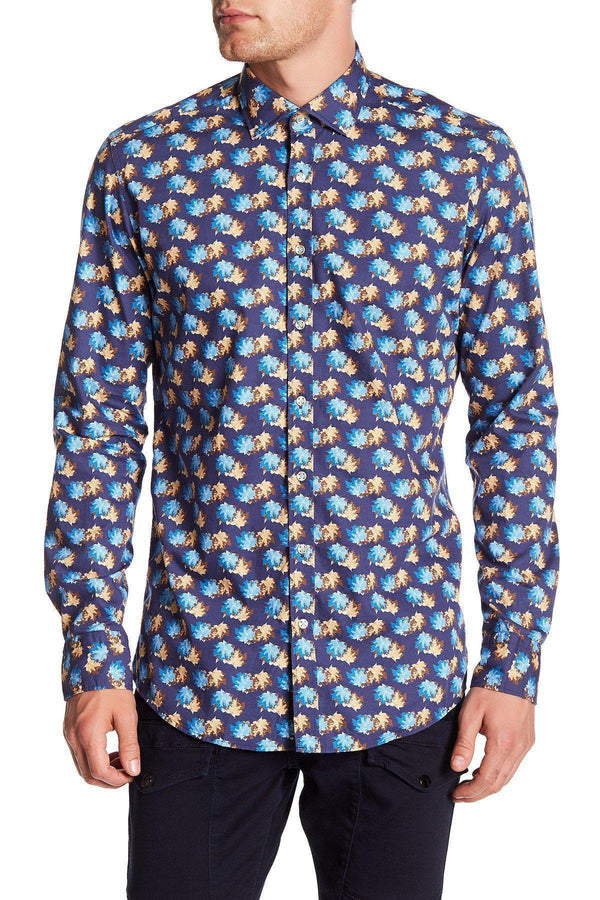 Casual Printed Shirt - Navy Turquoise - Ron Tomson