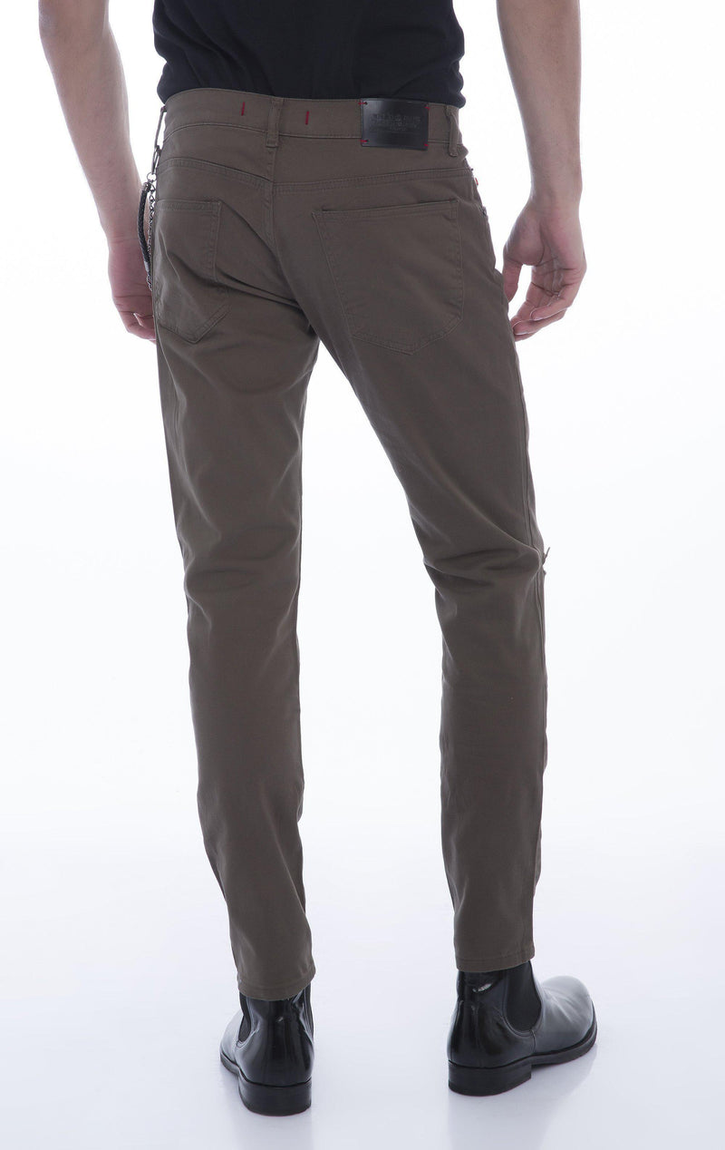Chain Slit Slim Fit Chino - GREEN - Ron Tomson
