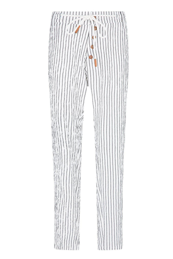 Chalk Stripe Pants - White Black - Ron Tomson