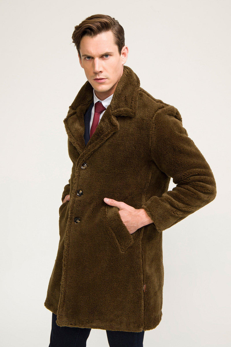 Classic Long Teddy Coat - Khaki - Ron Tomson