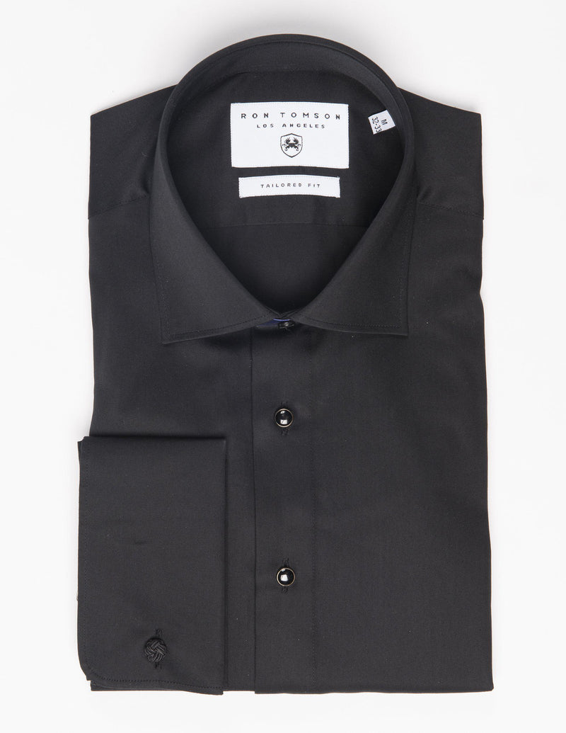 Classical Top 3 Removable Buttoned Tuxedo Shirt - Black - Ron Tomson