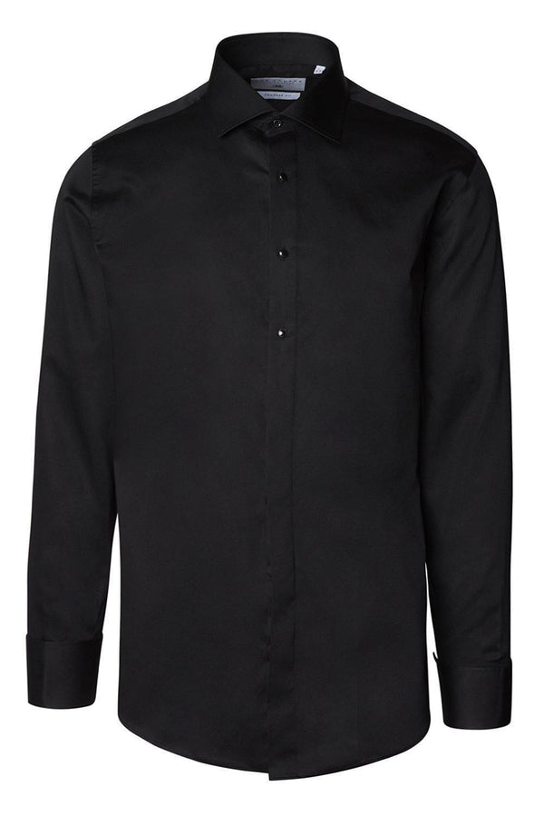 Classical Top 3 Removable Buttoned Tuxedo Shirt - Black - Ron Tomson ?id=15157334966357