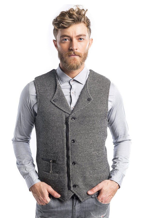 Collared Zip Button Closure Vest - Black White - Ron Tomson