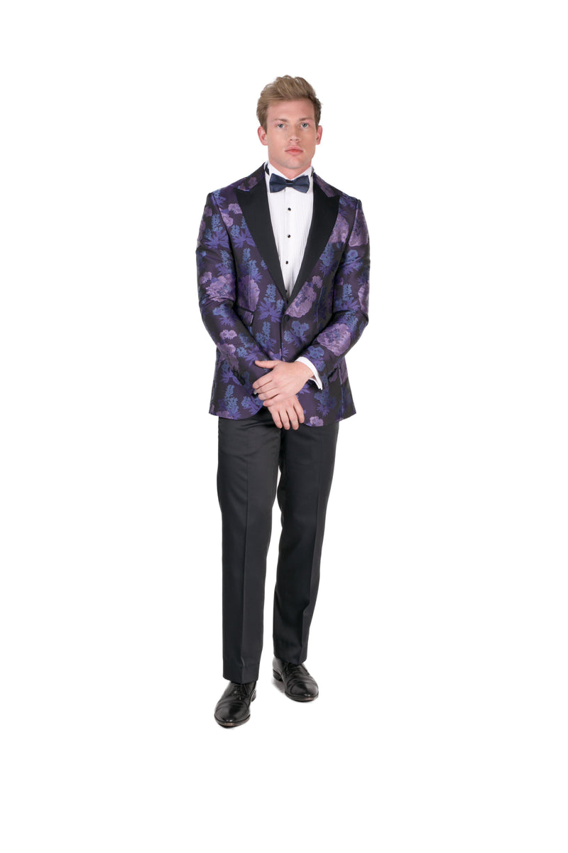 Contrast Peak Lapel All Over Floral Tuxedo - Purple Navy - Ron Tomson