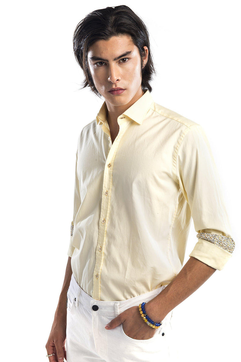 Contrast Slim Fit Spread Collar Shirt - Yellow - Ron Tomson