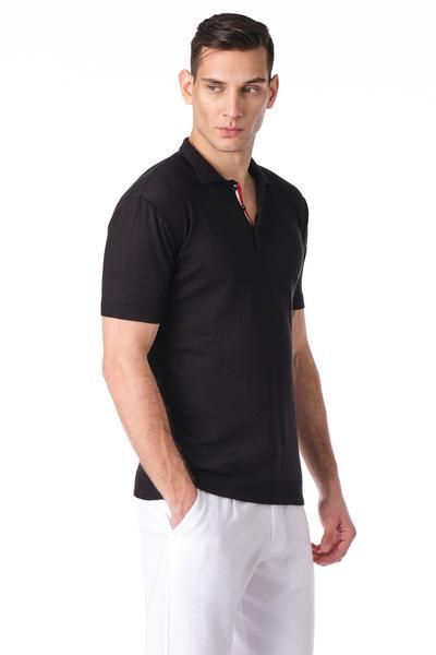 Contrast Trimmed Polo - Black - Ron Tomson