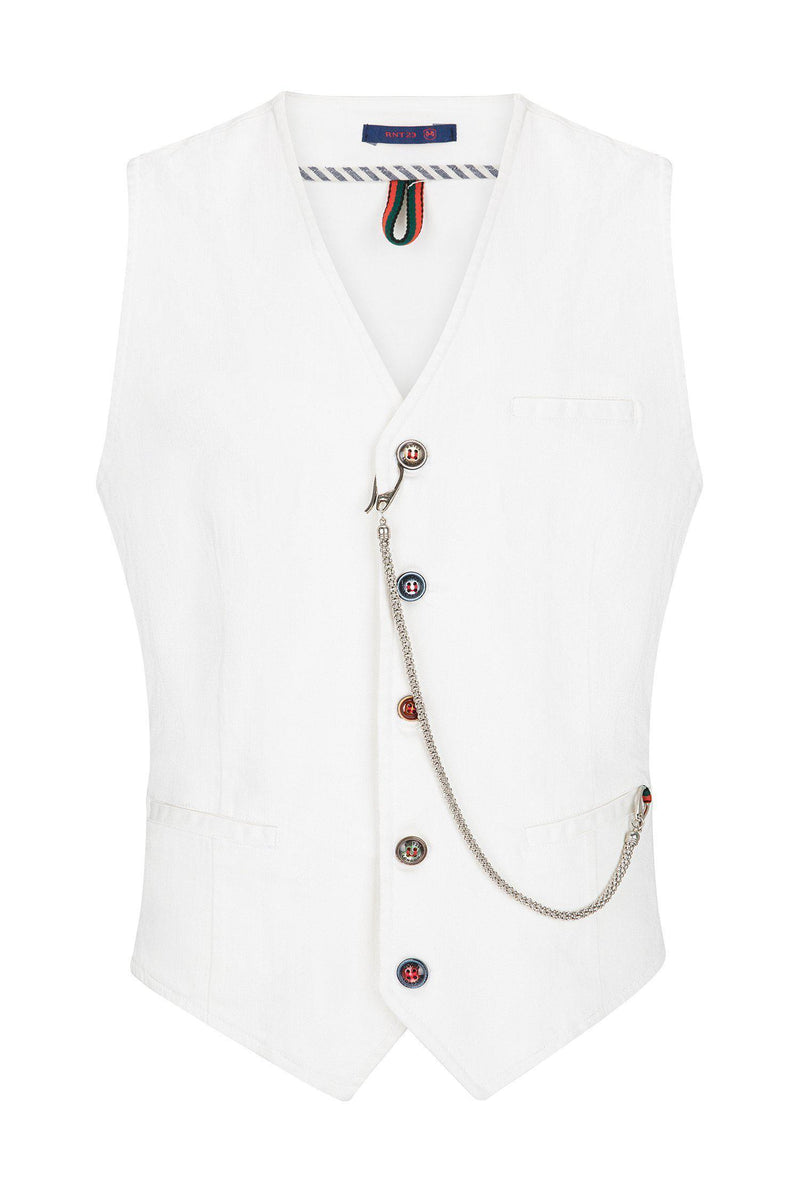 Cotton Vest - White - Ron Tomson ?id=13860677091413