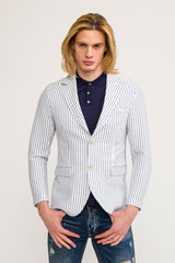 CRINKLE STRIPED BLAZER - WHITE NAVY - Ron Tomson