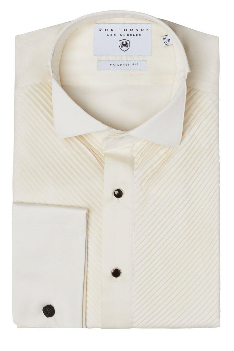 Diagonal Pleated Wing Tip Collar Shirt - Beige - Ron Tomson