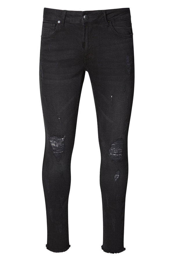 Distressed Ripped Hem Skinny Jeans - Black Black - Ron Tomson