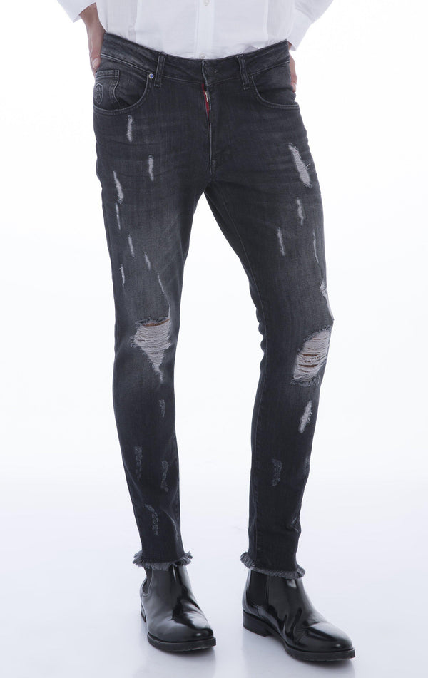 Distressed Ripped Hem Skinny Jeans - Black White - Ron Tomson