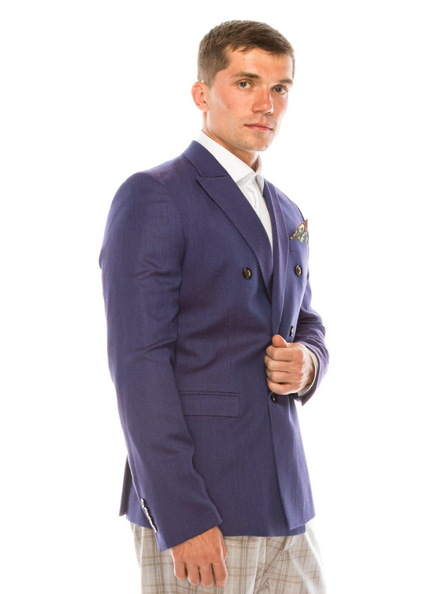 Double Breasted Fitted Stretch Blazer - Purple - Ron Tomson