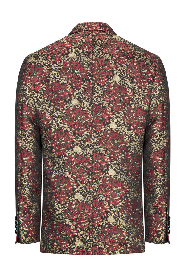DOUBLE BREASTED FLORAL PEAK LAPEL TUXEDO - BURGUNDY - Ron Tomson