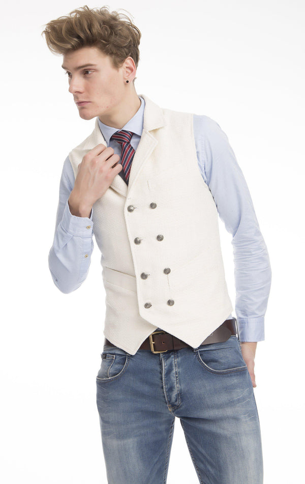 Double Breasted Notch Lapel Vest - Ecru - Ron Tomson