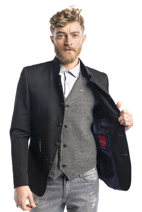 Black men's sport coat with a standing collar and inner pocket. ?id=13857522384981