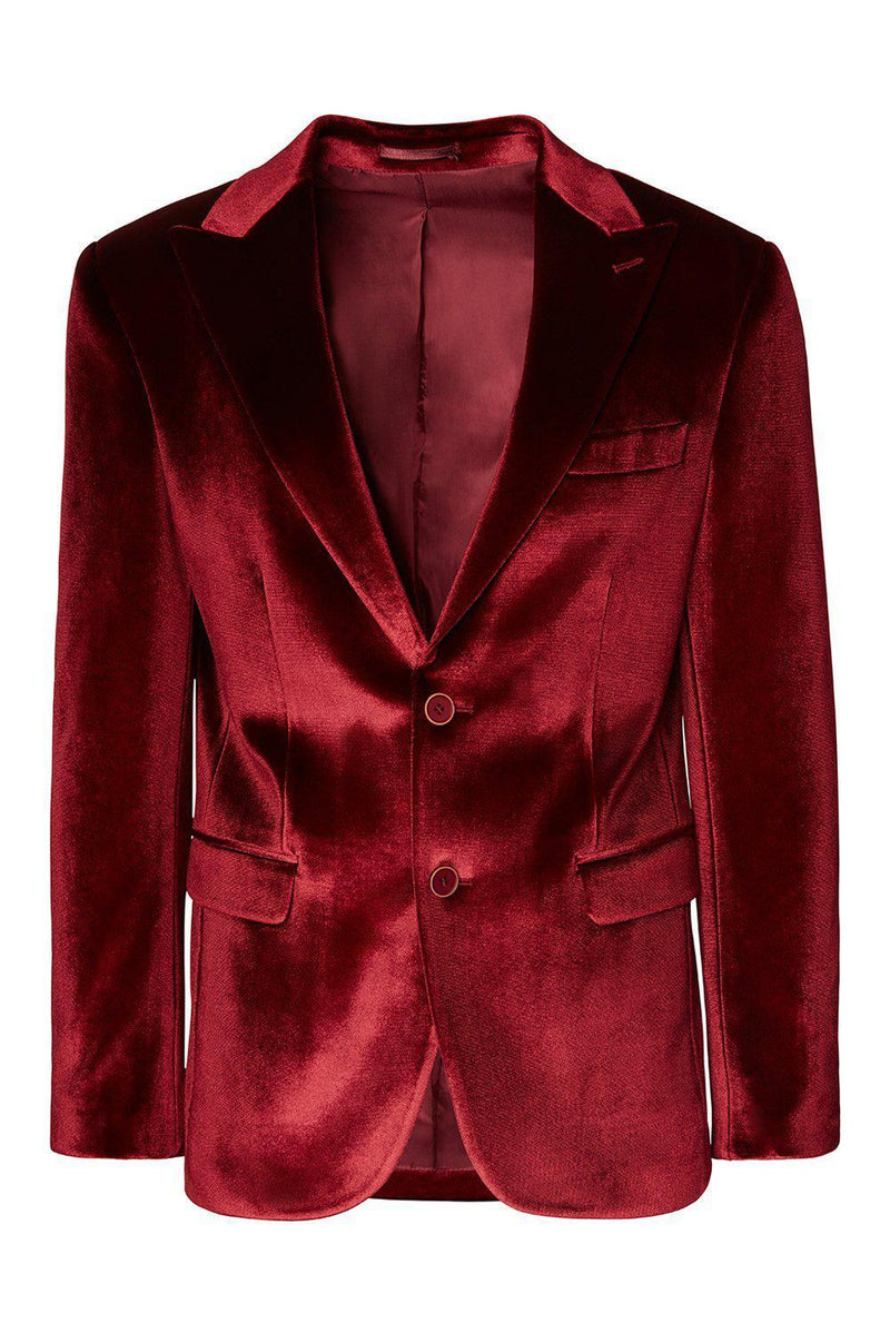 Dumond Peak Lapel Velvet Dinner Jacket - Burgundy - Ron Tomson