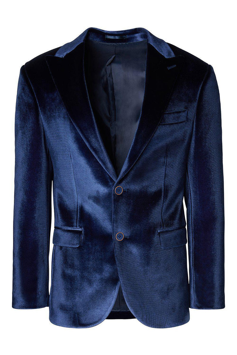 Dumond Peak Lapel Velvet Dinner Jacket - Navy - Ron Tomson