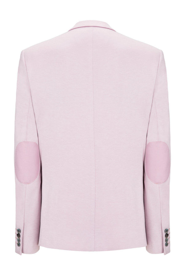 Elbow Patch Slim Fit Blazer - Rose - Ron Tomson