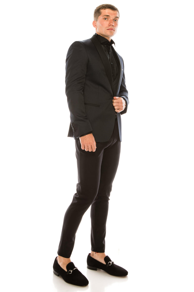 European Fit Tuxedo Jacket with Pants - Navy - Ron Tomson