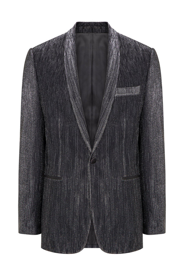 European Fit Tuxedo Jacket with Pants - Silver - Ron Tomson