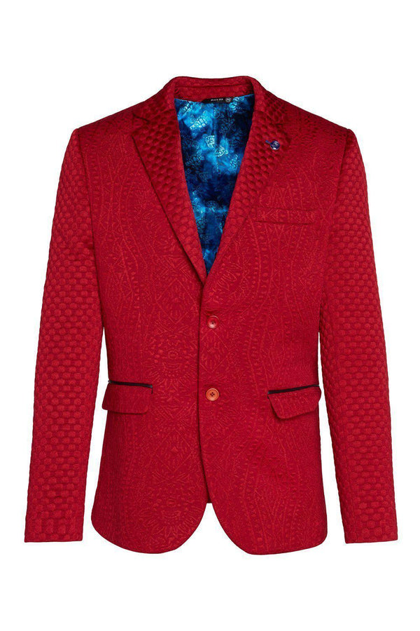 Fitted Brocade Jacket - Red - Ron Tomson