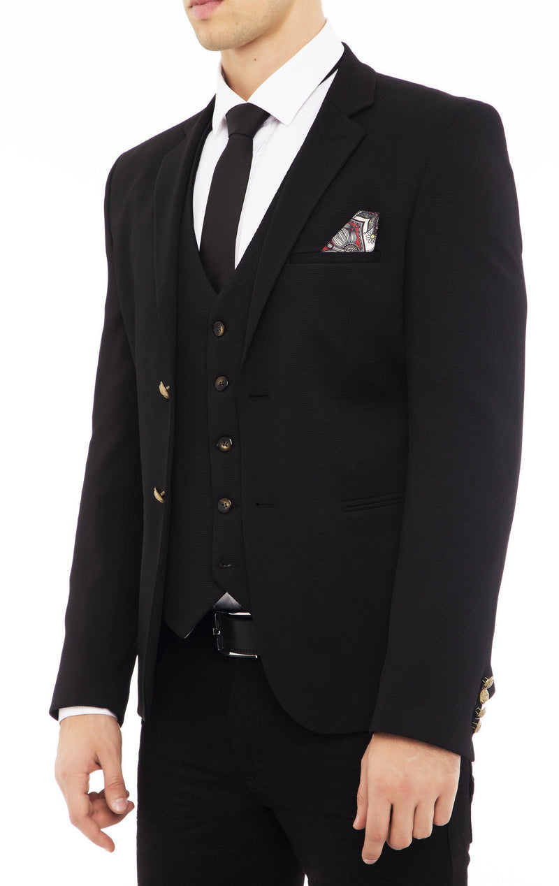 Gold-Button Fitted Notch Blazer - Black - Ron Tomson