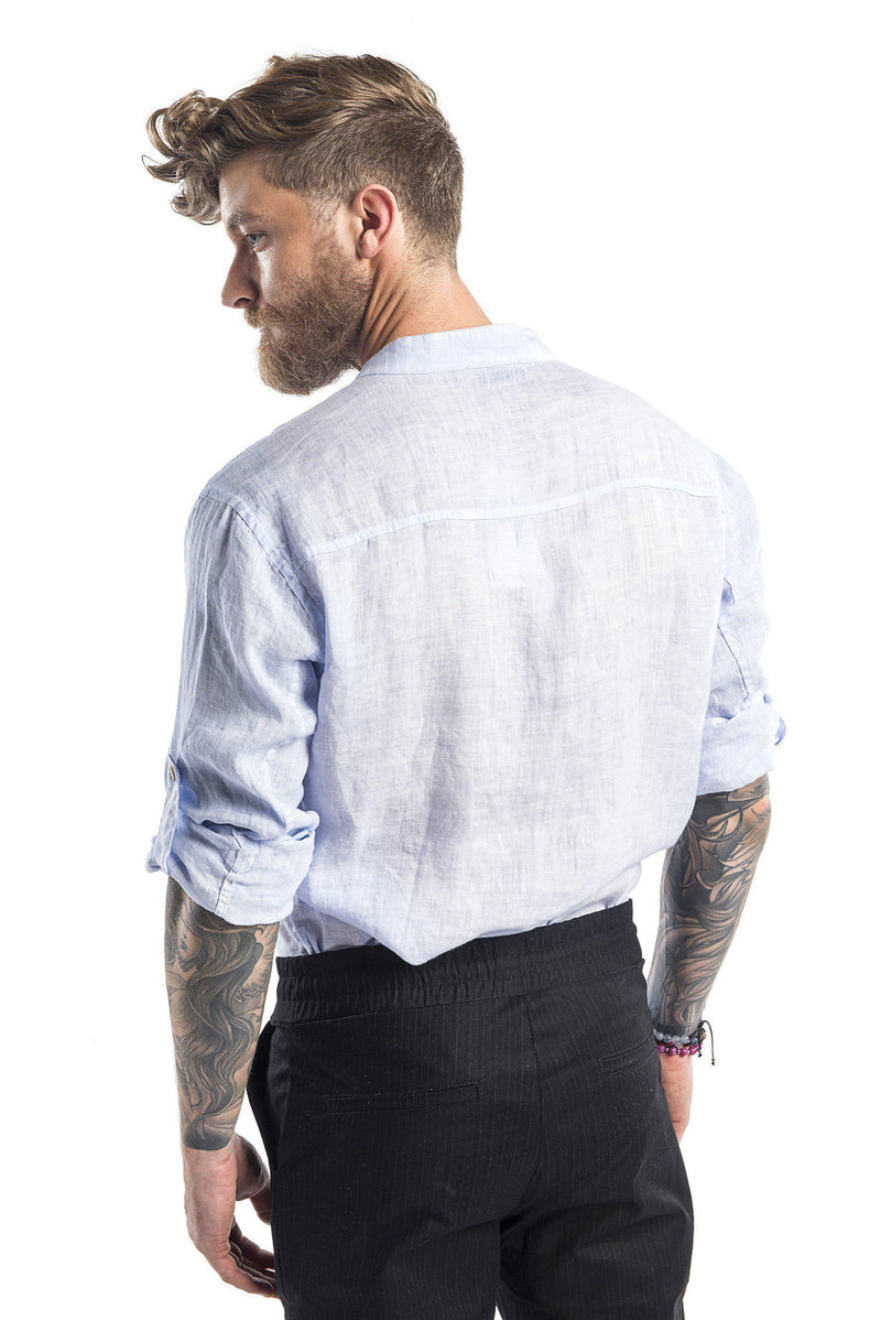 Hidden Placket Linen Shirt - Light Blue - Ron Tomson