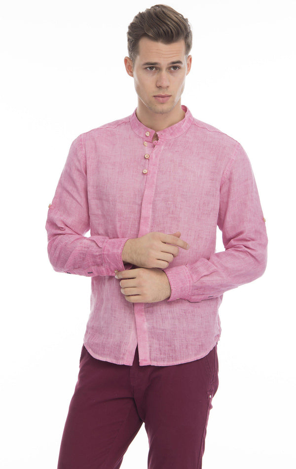 Hidden Placket Linen Shirt - Light Wine - Ron Tomson