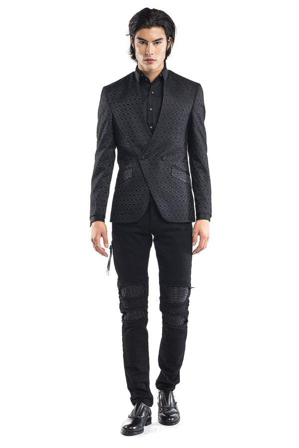 High Collar Symmetric Wrap Tuxedo - Black - Ron Tomson