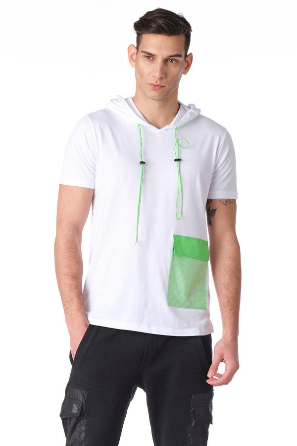 Hooded Exploration Drawstring T - White Green - Ron Tomson